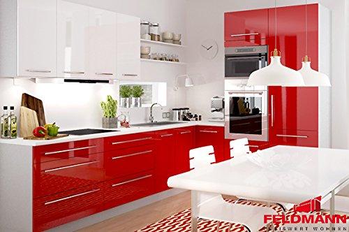Küchenzeile Küchenblock 16893 L-Form 250 x 210 cm grau / rosenrot + weiß Hochglanz