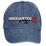 Shkdg Uncharted 4 A Thief's End Logo Mens' Retro Custom Washable Adjustable Cotton Twill Baseball Cap Navy