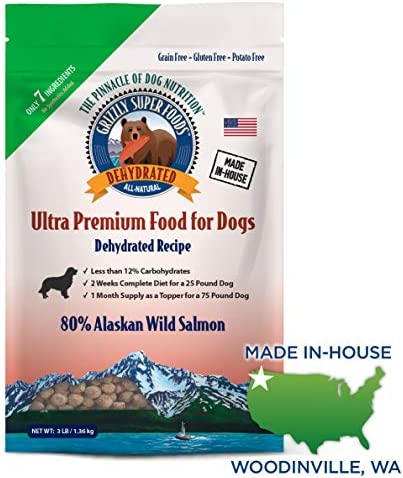 Grizzly Super Foods 7 Ingredient Dehydrated Dog Food – Grain Free, Gluten Free