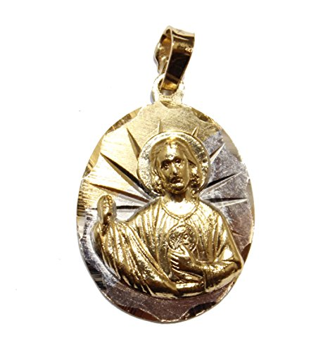 Diamantados of Florida San Judas Tadeo Medalla - St. Jude Thaddeus Medal 14k Gold Plated Three Tone Gold Oval Pendant with 20 inch Chain