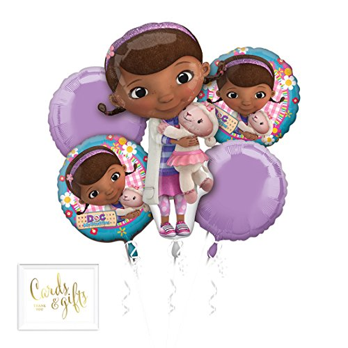 Andaz Press Balloon Bouquet Party Kit with Gold Cards & Gifts Sign, Doc Mcstuffins Foil Mylar Balloon Decorations, 1-Set ()
