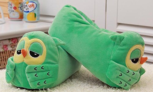 Womens Green Bootie Owl GOODS HW Velvet Slippers vUBqxY