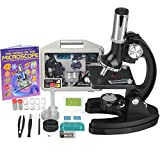 AMSCOPE-KIDS 120X-240X-300X-480X-600X-1200X Metal Arm Children Biological Microscope Kit + Microscope Book