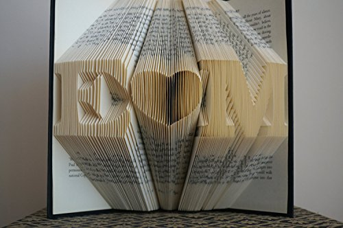 Unique Wedding Anniversary Gifts For Her: Folded Book Art -Stunning Word Pattern Folded Book Art