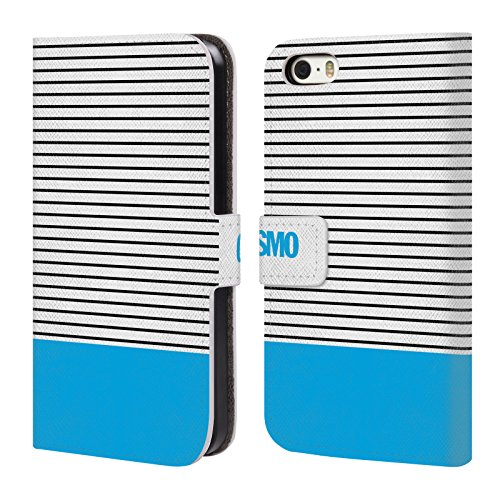 Official Cosmopolitan Sky Blue 1 Stripes Collection Leather Book Wallet Case Cover For Apple iPhone 5 / 5s / SE