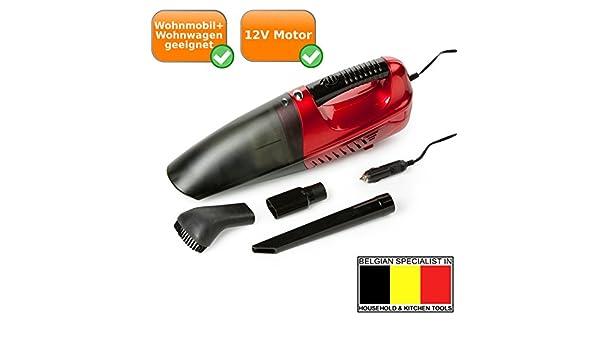 Aspiradora de mano con conector de 12 V, ideal para caravanas + caravana, aspirador para el viaje, color rojo y negro: Amazon.es: Hogar