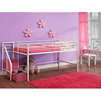 Amazon Com Dhp Junior Loft With Steps And Storage Pink Kitchen