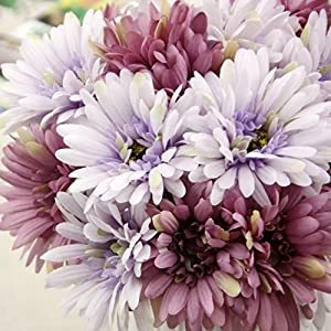 African Daisy Artificial Flowers 7 Heads Silk Cloth Flower Bouquet Artificial Plants for Wedding Banquet Living Room Home Decoration Party Christmas Mother's Day Holiday Gift 5