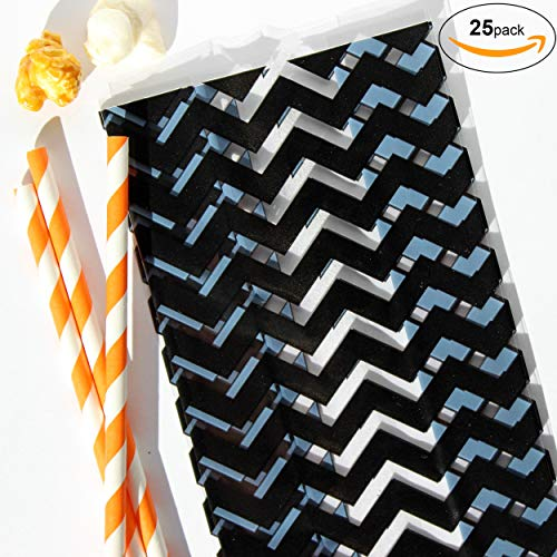 Bakers Bling Halloween Party Pack - 25pcs. Cellophane Bags, Twist Ties, Paper Straws (Chevron) (Twist Stripe Ties)
