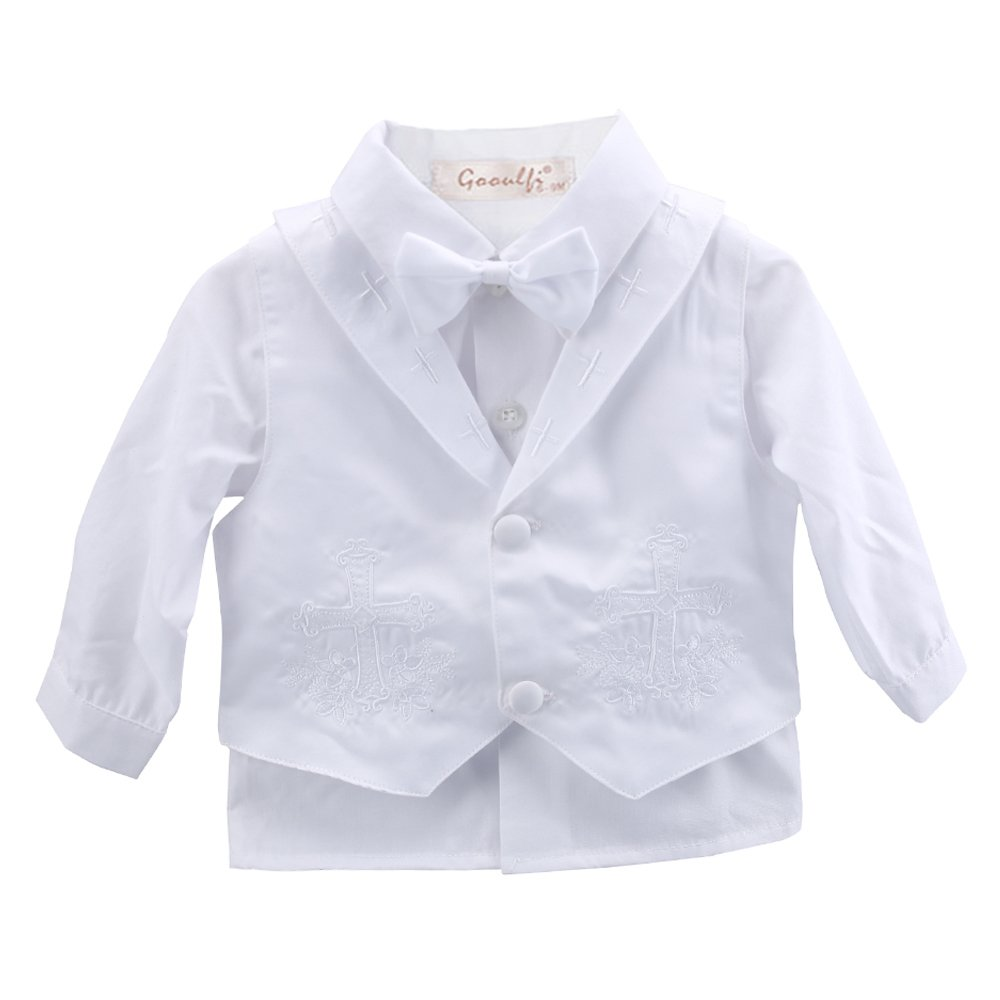 Baby Boys 5 Pcs Set White Christening Baptism Outfits Cross Applique Embroidery Vest Long Sleeves Suit Booulfi