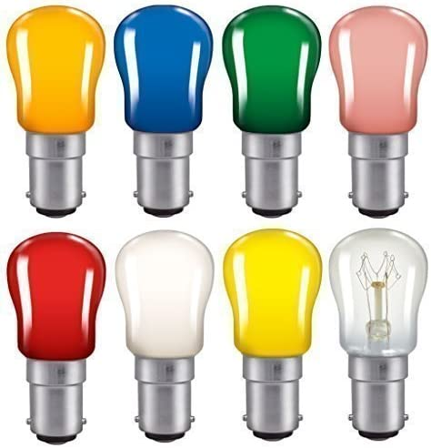 Coloured Pygmy Light Bulbs 15w Crompton Branded BC SBC SES sign light bulb lamp