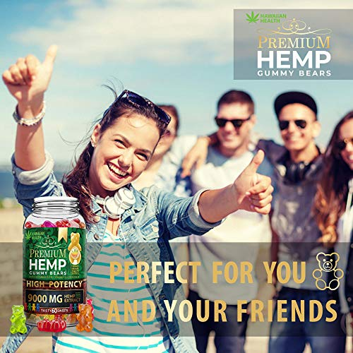 5114pRr%2B%2BsL - Hemp Gummies Premium 9000MG High Potency - 150 Per Fruity Gummy Bear with Hemp Oil | Natural Hemp Candy Supplements for Pain, Anxiety, Stress & Inflammation Relief | Promotes Sleep & Calm Mood