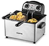 Gourmia GDF475 Electric Deep Fryer - 3 Baskets - Dual Temperature and Timer Dials - 4.2L -18 Cups - 4 Lbs Food Capacity - Anti-Odor - 1650W- Stainless Steel - Free E-Recipe Book
