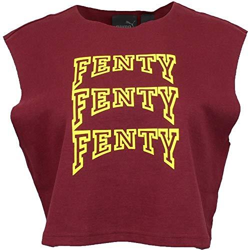 (PUMA Womens Fenty by Rihanna Sleeveless Crop Top Casual T-Shirt Burgundy XL)