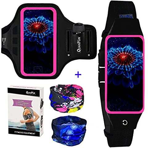 """Running Belt & Sport Armband with Headwear for Women/Men, Cell Phone Arm Band Exercise Sportband Case Strap Holder for iPhone 8/8 Plus X 7/ 6s/6 Plus, Galaxy s8 s7 s6 Edge, 5.5"""" Rosy Pink – Set of (Waterproof Ipod 4 Case Yellow)"""