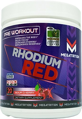 RHODIUM RED - The ONLY Pre-Workout Supplement Containing ROOIBOS Antioxidant Extract - All Natural, No Jitters, No Crash, No Sugar, No Fillers, No Artificial Colorants - Sour Cherry Flavor
