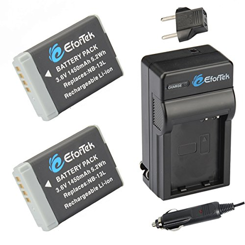 NB-13L EforTek Replacement Battery (2-Pack) and Charger Kit for Canon NB-13L and Canon PowerShot G5 X, G7 X, G7 X Mark II, G9 X, G9 X Mark II, SX620 HS, SX720 HS
