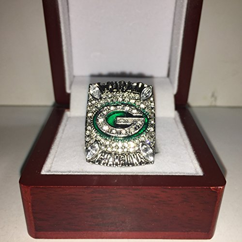 2010 Aaron Rodgers #12 Green Bay Packers High Quality Replica Super Bowl XLV Ring Size 11-Silver Colored 3-D Logo - Green Bay Packers Ring