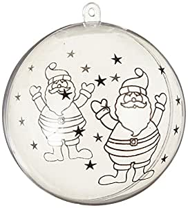 Naice Christmas Ball Ornament Clear Plastic Fillable Ball with Santa Pattern 80mm - Pack of 12