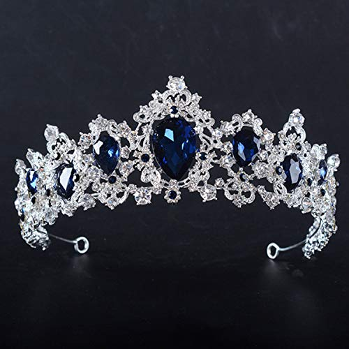 SNOWH Crystal Crown Bridal Tiara - Royal CZ Wedding Crowns Princess Headpieces Hair Accessories Pageant Prom Party Sapphire