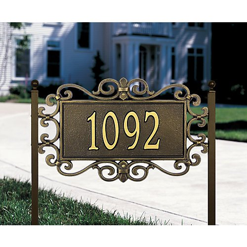 Whitehall Products Mears Fretwork Rectangular Antique Copper Estate Wall Two Line Address (Fretwork Wall Plaque)