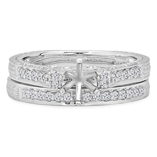 White Gold Round Diamond Ladies Bridal Semi Mount Ring Engagement Set with Matching Band 3/4 Ct (No Center Stone) (Size 7) (Ladies Round Diamond Semi Mount)