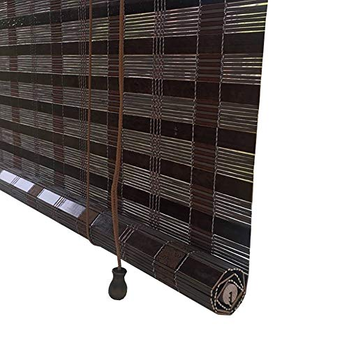 Bamboo Slat Roll up Window Blinds, Blackout Roman Roller Shade for Garden Patio Exterior Outdoor, 70cm/90cm/110cm/130cm/140cm Wide (Size : 45X80cm)