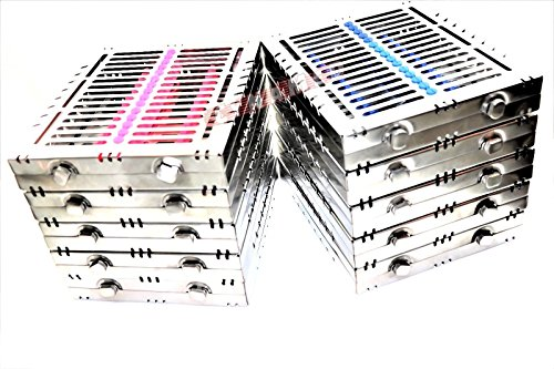 10 GERMAN DENTAL AUTOCLAVE STERILIZATION CASSETTE BOX TRAY FOR 15 INSTRUMENTS BLUE/PINK ( CYNAMED ) by CYNAMED (Image #3)