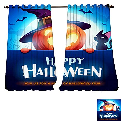 DESPKON-HOME Blackout Grommet Curtains Happy Halloween! Jack O Lantern Pumpkin Witch hat with Big Signboard in The Moonlight 3 Layers High Density - Noise Reduction Fabric-W108 x -