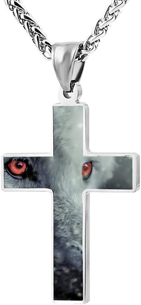 Red Eyed Snow Wolf in Winter Cross Necklace for Adult Black Zinc Alloy 24 Inches