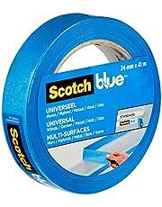 ScotchBlue Premium schildercrêpe universeel, 24 mm x 41 m, veelzijdig Scotch plakband voor schilderwerk en decoratie, voor binnen en buiten, afplakband, crêpeband