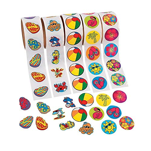 Fun Express 500 (5 Rolls) Tropical Stickers/Hibiscus/FLIP Flop/Beach Ball/SEA Creatures/Luau Party Theme/Favors/Decor