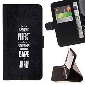 Momo Phone Case / Flip Funda de Cuero Case Cover - Dare Saltar inspiradora motivación Negro - LG G4c Curve H522Y (G4 MINI), NOT FOR LG G4