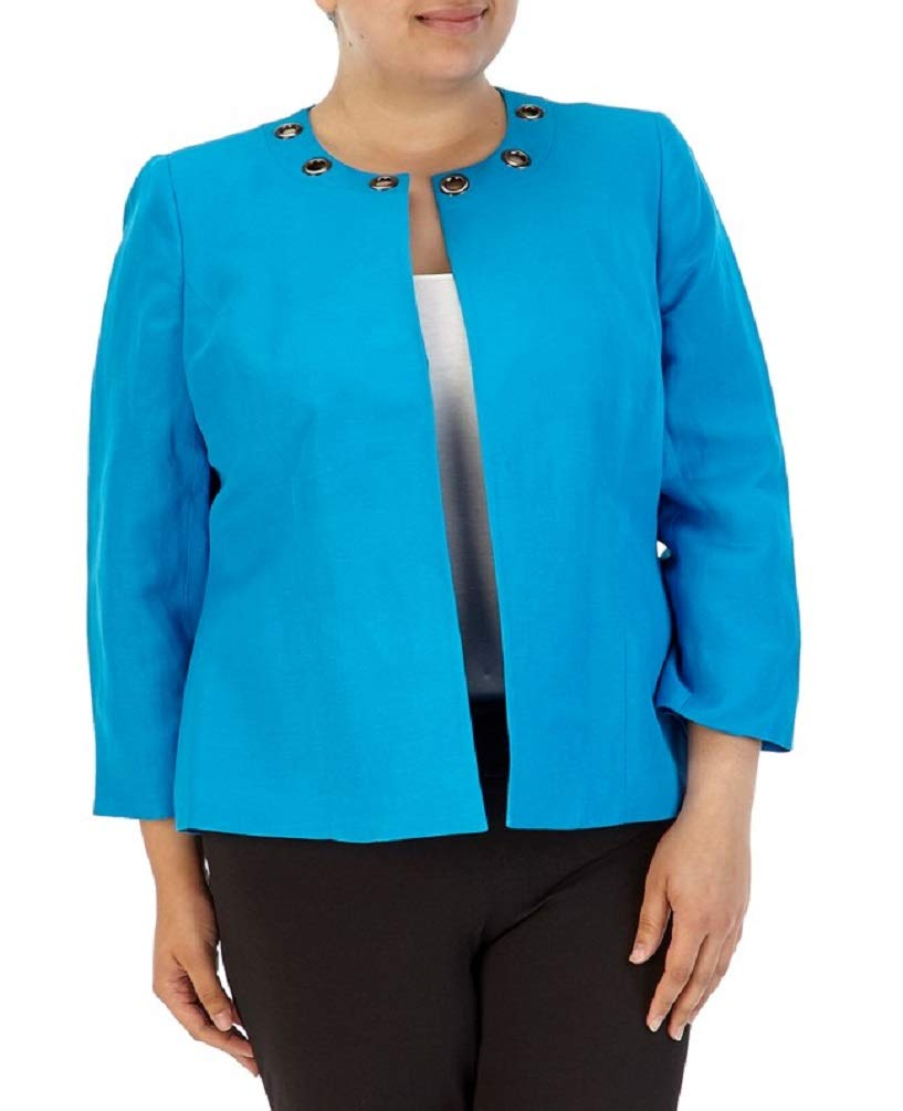Kasper Women's Plus Linen Flyaway Jacket with Grommet Neckline, Blue Grotto (14W)