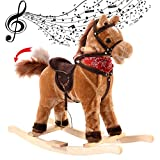 COSTWAY Rocking Horse with Music Function, Handle Grip, Active Mouth, Wagging tail, 40KG Capacity, Kids & Children Traditional Toy as (Brown)