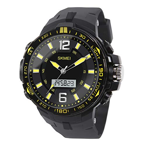 Military Analog - HIwatch Boy' Military Digital Analog Watch Display Sports Watches Multifunctional Large Compass Stopwatch Wrist Watches for Men, Yellow