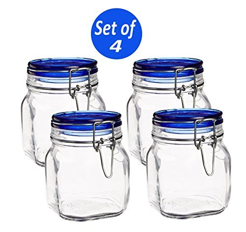- Bormioli Rocco Fido Square Jar with Blue Lid, 25-1/4-Ounce (Set of 4)
