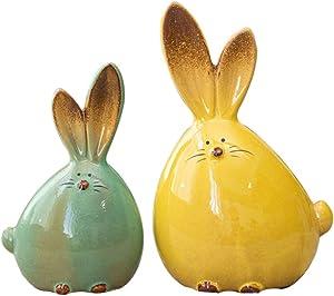 Balacoo 2pcs Ceramic Rabbit Figurine Easter Bunny Figure Sculpture Ornaments Desktop Animals Ceramic Rabbit Statue Easter Party Favor Gifts (Mixed Color)