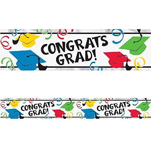 Amscan Congrats Grad! Graduation Party Banner Roll Decoration, Foil, 9',
