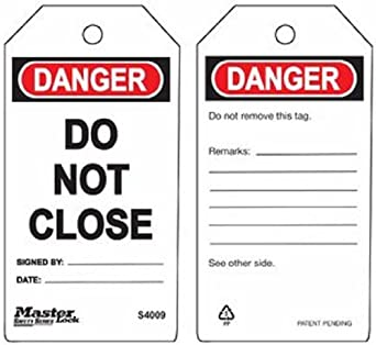 Service Or Repair Tag Master Lock Danger Lock Out Plastic Before Maintenance 3 Width 5-3//4 Height Pack of 6
