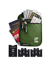 Zero Grid portafolios de cuello con bloqueo RFID, bolsa de viaje oculta y soporte para pasaporte, Forest, One_Size