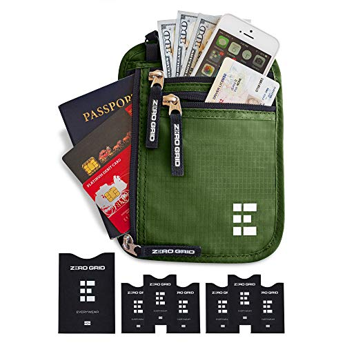 Zero Grid Neck Wallet w/RFID Blocking- Concealed Travel Pouch & Passport Holder (Forest) ()