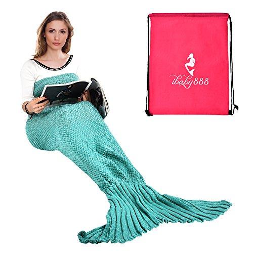 Adult and Child Mermaid Fish Scales Tassel Blanket (Dark Green) - 7