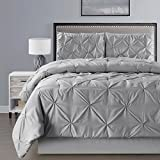 4 Pieces Double-Needle Stitch Goose Down Alternative Pinch Pleat Solid GREY / GRAY Comforter Set QUEEN Size Bedding - Hypoallergenic, Plush Siliconized Fiberfill