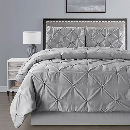 4-pieces-double-needle-stitch-goose-down-alternative-pinch-pleat-solid-grey-gray-comforter-set-king-