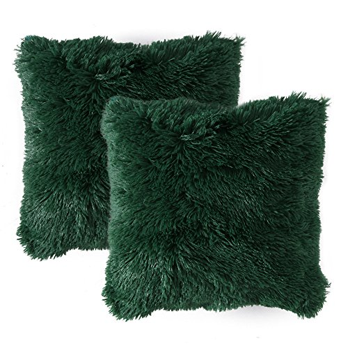 (MIULEE Pack of 2 Luxury Faux Fur Throw Pillow Cover Deluxe Decorative Plush Pillow Case Cushion Cover Shell for Sofa Bedroom Car 18 x 18 Inch Dark Green)