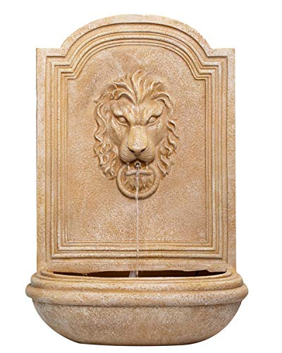 CYA-DECOR Lion Head Wall Water Fountain Indoor/Outdoor, 30 inches High