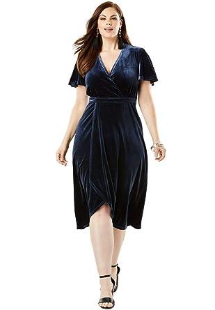 a19f665e1cc8c Roamans Women s Plus Size Stretch Velvet Dress with Faux Wrap Front at  Amazon Women s Clothing store