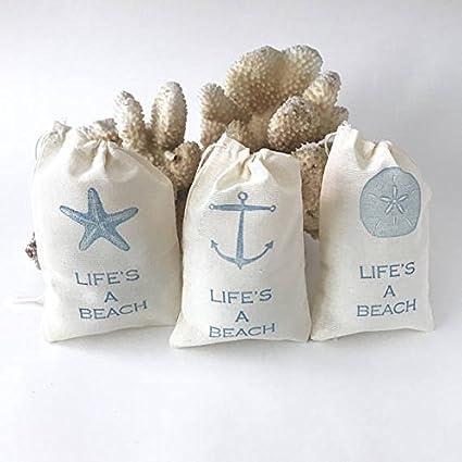 Amazon.com: Nautical Favor Bag | Lifes a Beach Gift Bag | Anchor ...