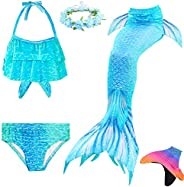AUIE SAOSA Girl Mermaid Tail for Swimming Mermaid Swimsuit Fin and Garlands 5pcs